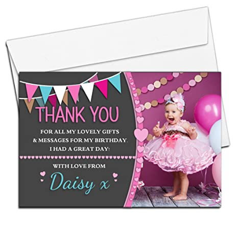 10 Personalised Birthday Party Invitations Bunting Joint Glitter Girl Boy Photo