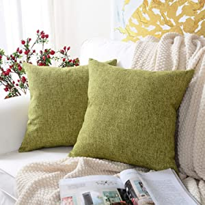 MERNETTE New Year/Christmas Decorations Cotton Linen Blend Decorative Square Throw Pillow Cover Cushion Covers Pillowcase, Home Decor for Party/Xmas 20x20 Inch/50x50 cm, Fern Green, Set of 2
