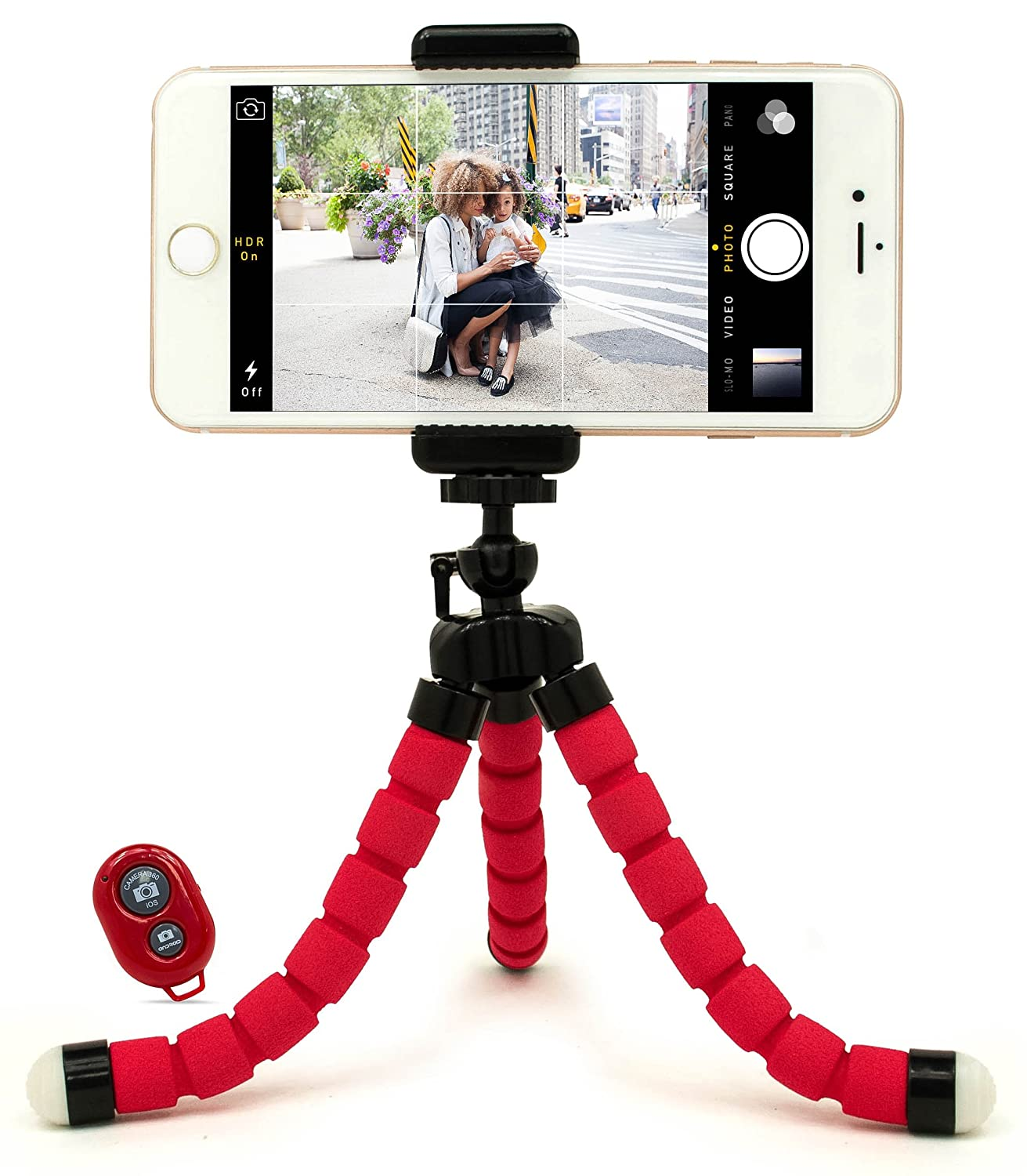 Bastex Universal Compact Flexible Octopus Style Blue Tripod Stand Holder/Mount with Adapter for Smartphone / GoPro Hero All Versions - Includes Remote W2: N 121B BlueSelfieFlexibleStand ALE