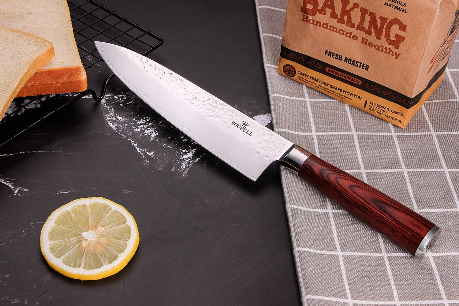 Damascus Chef Knife -Soufull 8 inch Knife Japanese VG10 Razor Sharp Well-Balanced - Stain & Corrosion Resistant Kitchen Knife - Professional Chefs Knives by Soufull (Image #6)
