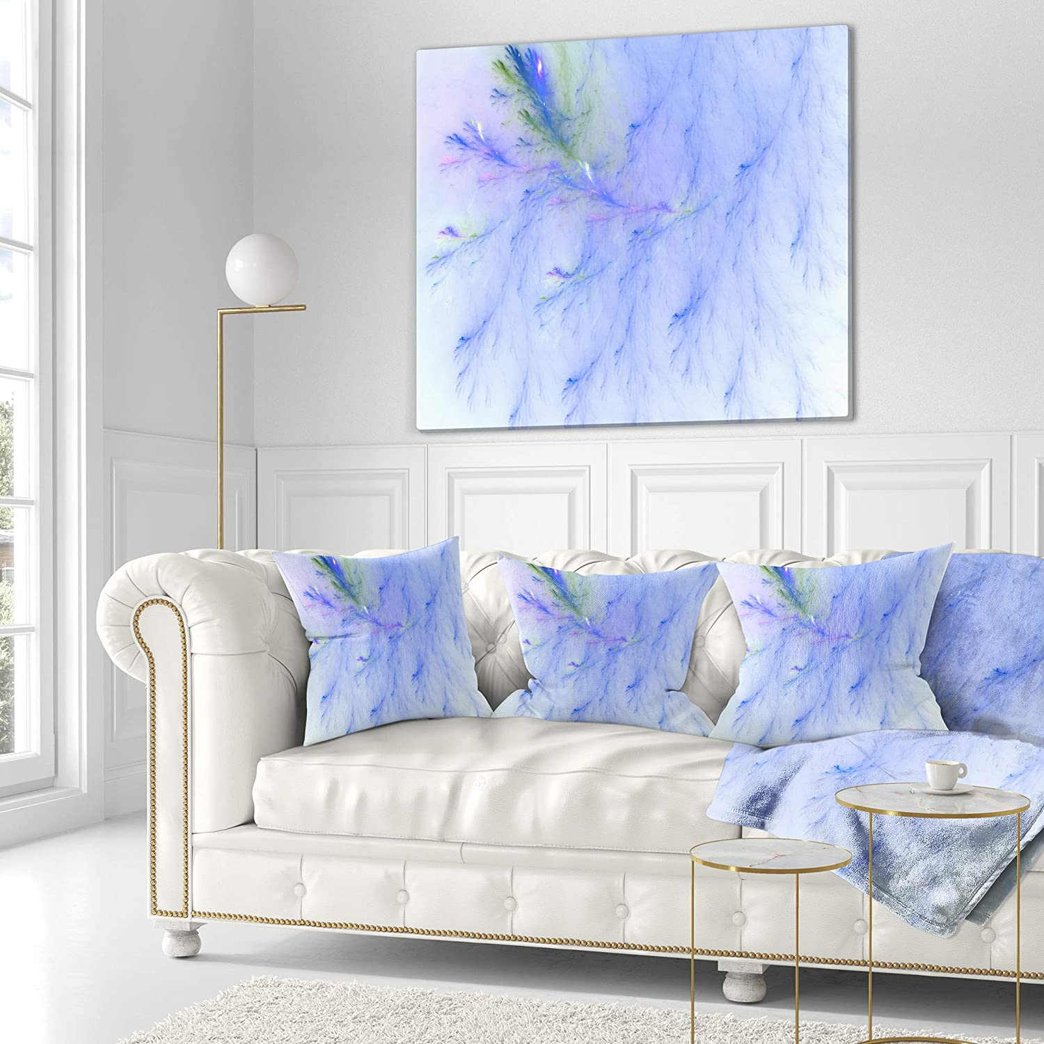 x 26 in in Designart CU16041-26-26 Light Blue Veins of Marble Abstract Cushion Cover for Living Room Sofa Throw Pillow 26 in