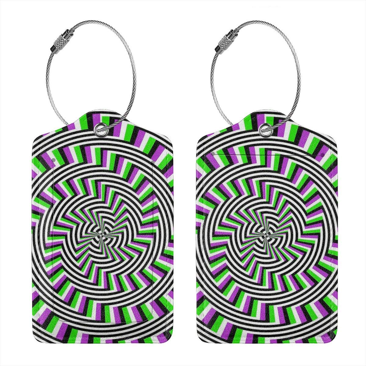 Leather Luggage Tag Self-Moving Unspirals Luggage Tags For Suitcase Travel Lover Gifts For Men Women 4 PCS