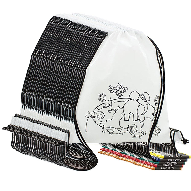 Partituki Lote de 30 Mochilas Infantiles para Colorear. con Ceras de Colores. Ideal para Regalos y Detalles de Fiestas de Cumpleaños Infantiles