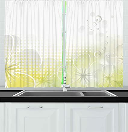 Ambesonne Grey And Yellow Kitchen Curtains, Abstract Grunge Design Water  Bubbles And Flowers Image,