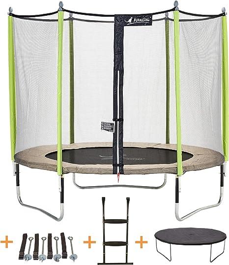 KANGUI - Cama elástica de jardín Redondo 305 cm + Red de Seguridad + Escalera + Funda de protección + Kit Anclaje | JUMPI Zen 300: Amazon.es: Deportes y aire libre