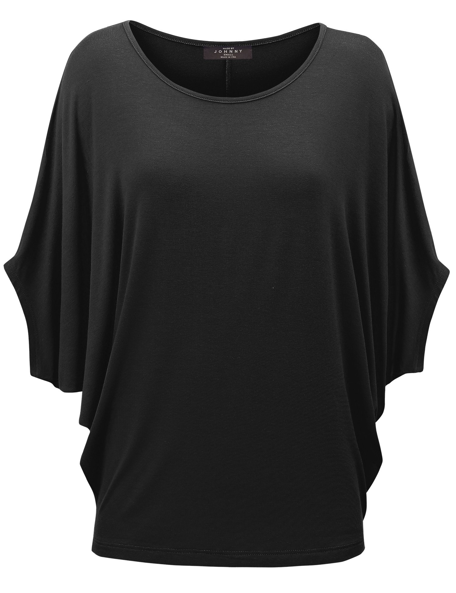 Made By Johnny MBJ WT1073 Womens Scoop Neck Half Sleeve Batwing Dolman Top XL Black