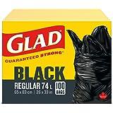 Glad Black Garbage Bags - Regular 74 Litres - 100 Trash Bags