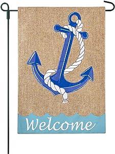 JEC Home Goods Anchor Garden Flag Coastal Beach Natural Design - Summer Garden Flag 12x18 Large Double Sided On Burlap