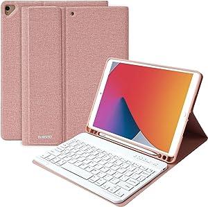 iPad Keyboard Case for 10.2 iPad 7th/8th Gen, iPad Pro 10.5 2017 Case with Keyboard, ipad air 3rd Generation case with Keyboard,Wireless Keyboard and Pencil Holder for iPad 10.2/10.5 Inch Pink