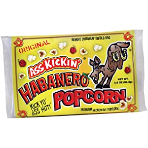 ASS KICKIN' Habanero Microwave Popcorn - 1 Pack - Ultimate Spicy Gourmet Gift - Makes a Great Movie Theater Popcorn or Snack Food - Try if you dare!