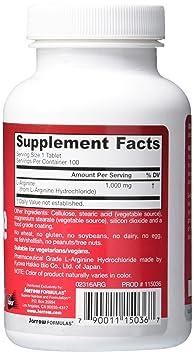 Jarrow Formulas L-Arginina, apoya la salud cardiovascular, 1000 mg, 100 tabs: Amazon.es: Salud y cuidado personal