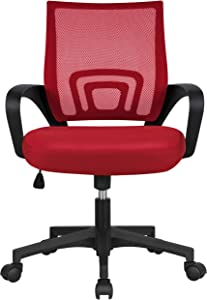 Yaheetech Ergonomic Mesh Office Chair Mid-Back Height Adjustable Computer Chair w/Lumbar Support & 360° Rolling Casters 276lb Weight Capacity Red