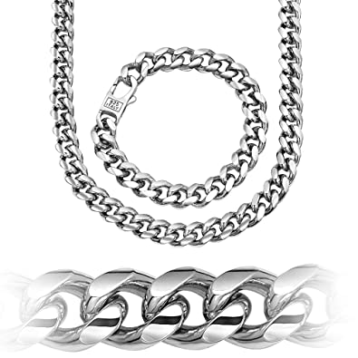 7c91c6c78 Sterling Manufacturers Hand Made Miami Cuban Link Chain Necklace Bracelet,  Various Lengths, Rhodium Plated