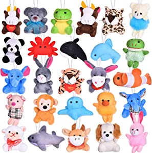 FUN LITTLE TOYS 26 Pack Mini Animals Plush Toy Assortment, Cute Stuffed Animals Keychain Toy for Classroom Prizes, Party Favors, Goodie Bag Fillers