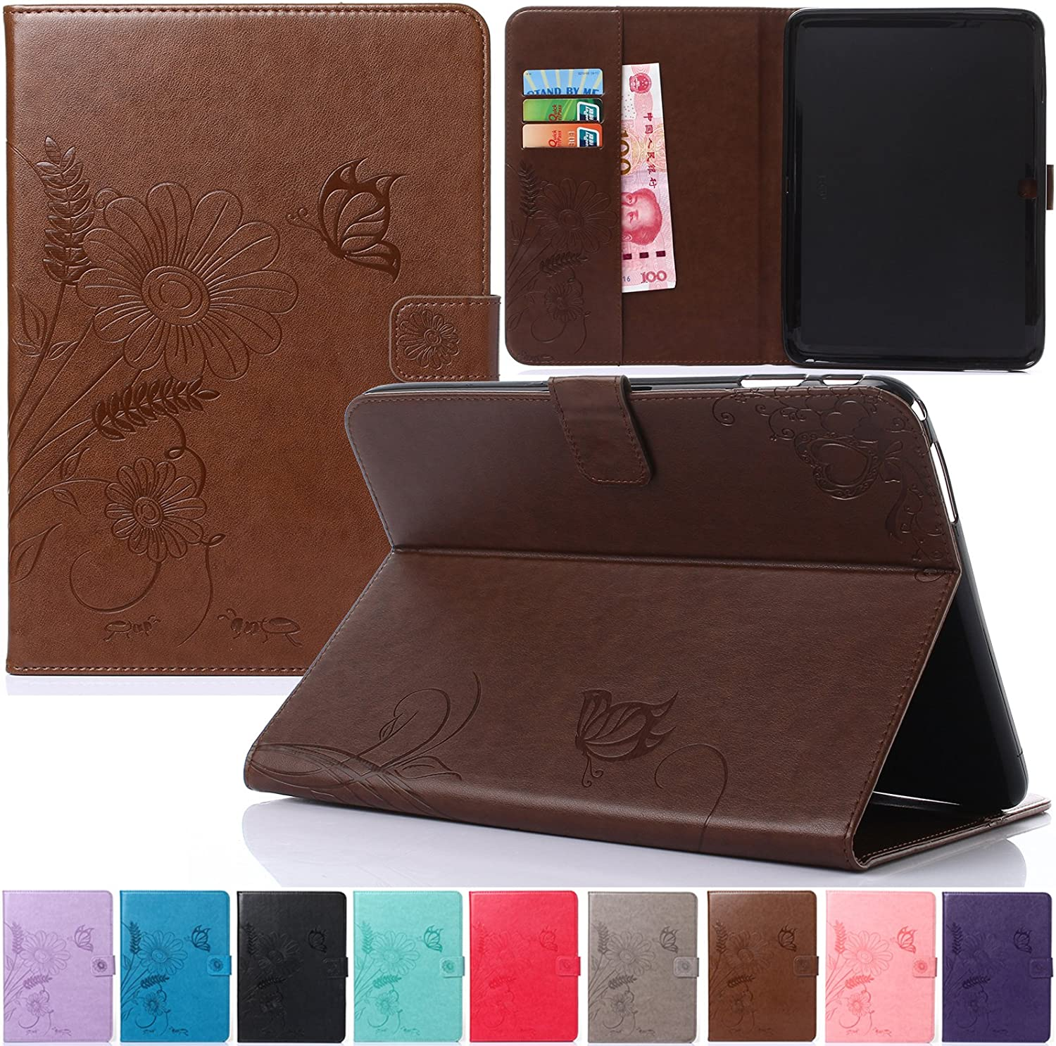 Galaxy Tab 4 10.1 Case,Artyond PU Leather Protect Cover [Magnet Closure]Butterfly Embossed Cards Slots Wallet Case With [Auto Wake/Sleep Feature]Stand Case For Samsung Galaxy Tab 4 10.1 SM-T530(brown)