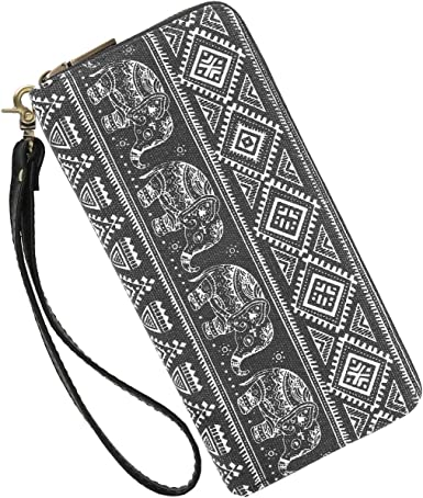 Girls Canvas Change Purse Cellphone Clutch Purse With Wrist Strap Hand Drawn Tools Pattern Zipper Small Purse Wallets