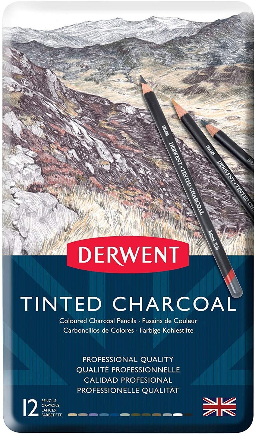 Tinted Charcoal Pencils in Metal Tin