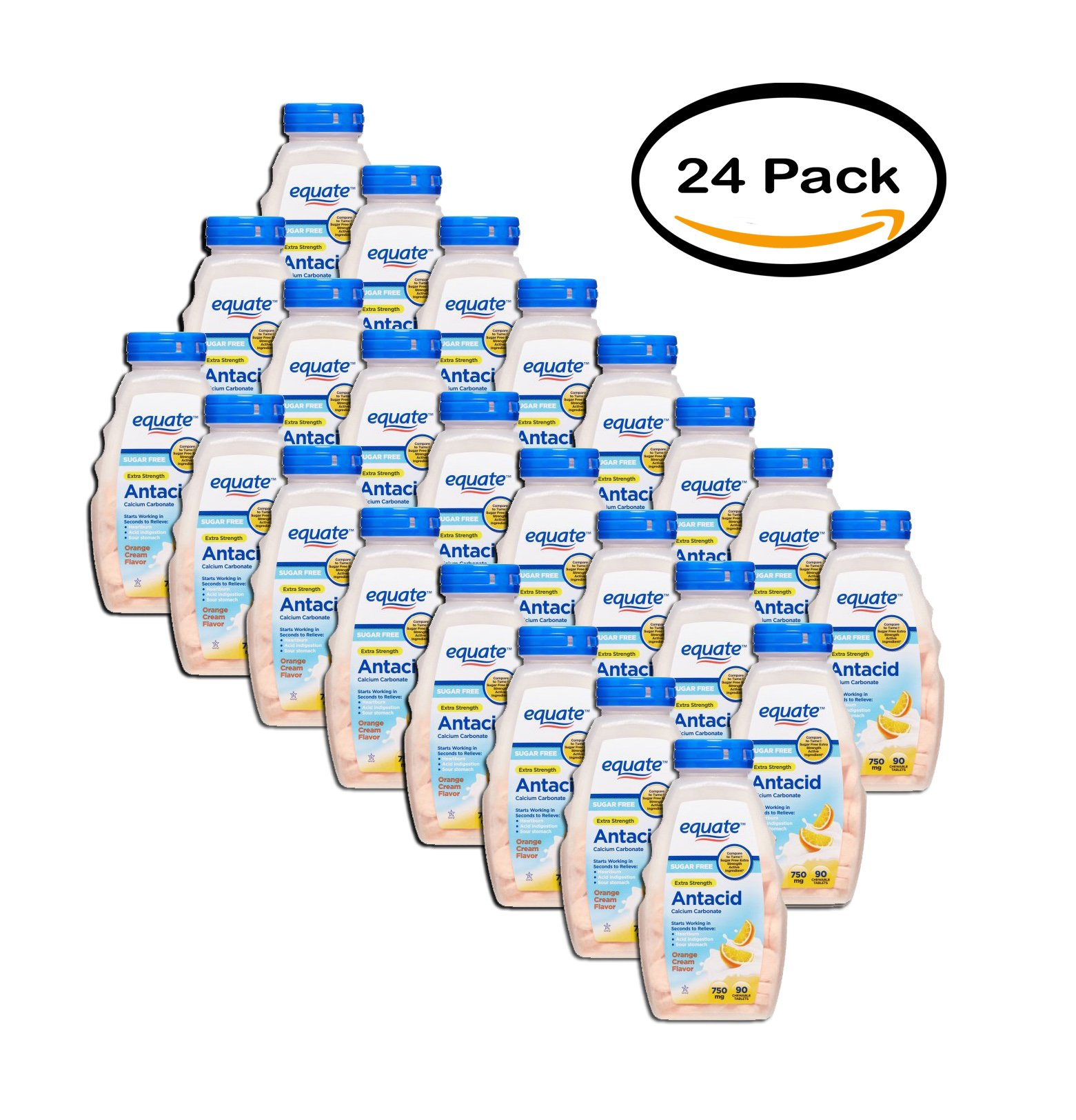PACK OF 24 - Equate Extra Strength Sugar Free Antacid Chewable Tablets, Orange Cream, 90 Ct by Equate