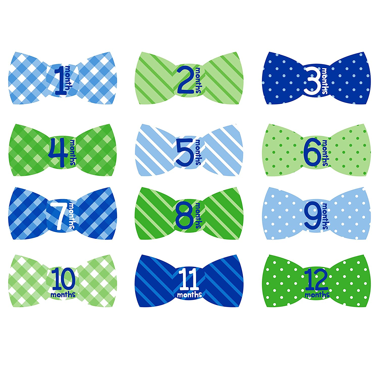 Tiny Ideas First Year Monthly Milestone Bowtie Photo Sharing Baby Belly Stickers, 1-12 Months, Blue Pearhead 96187
