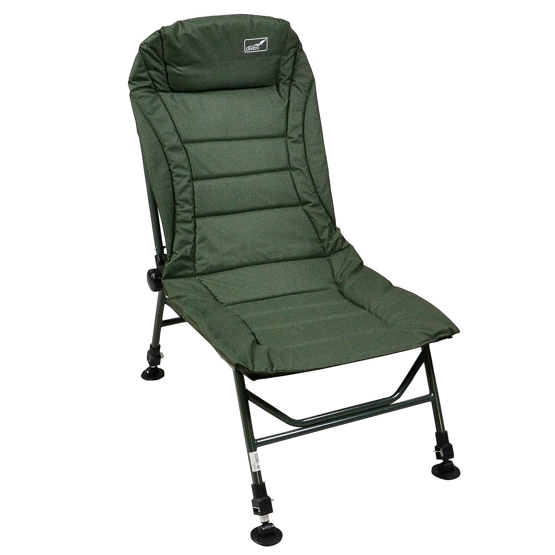 Divero Angelstuhl Campingstuhl Karpfenstuhl mit Schlammfüßen + Kopfpolster grün