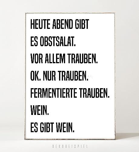 Kunstdruck / Poster OBSTSALAT  Ungerahmt  Typografie, Schrift, Text,  Spruch, Küche