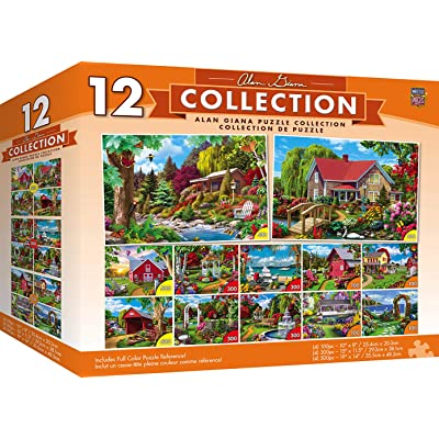 MasterPieces Alan Giana Collection Bundle, Jigsaw Puzzle, Featuring Garden & Country Scenes, 12-Pack, 100, 300, & 500 Pieces: Toys & Games
