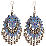 Zephyrr Fashion Multicolor German Silver Afghani Hook Chandbali Dangler Earrings For Women and Girls