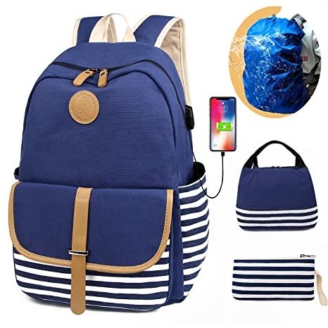 bf3193f731 SCIONE School Backpacks for Teen Girls with USB Charging Port and Waterproof  Backpack Cover Lightweight Canvas