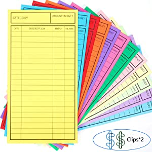 New!! 24 Pcs Budget Envelopes, Cardstock Cash Envelope System for Money Saving, 12 Assorted Colors, Vertical Layout