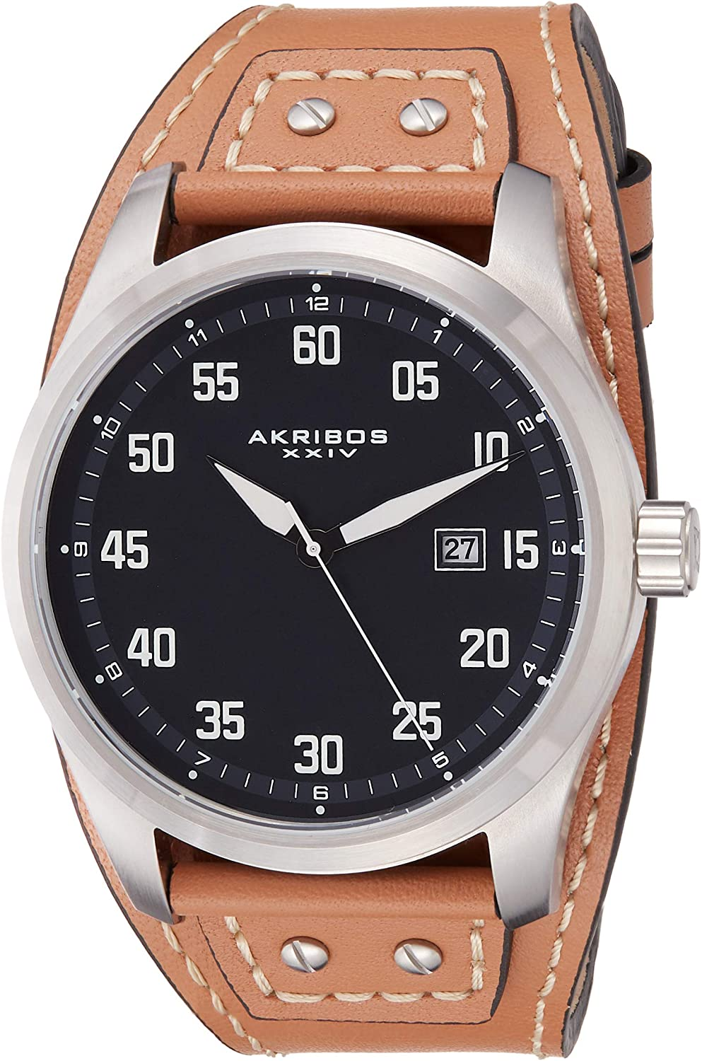Akribos Classic low-pricing Men's Cuff Strap w Casing Regular dealer Strong Watch -