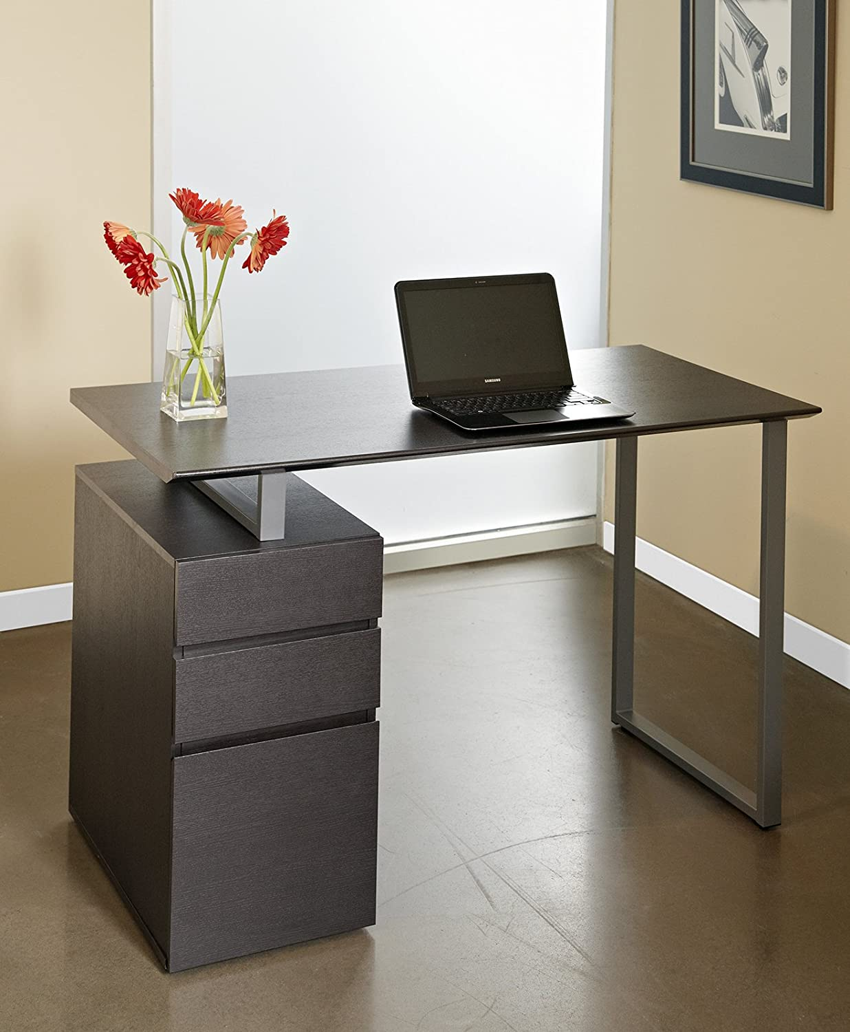 unique office desk. Amazon.com: Unique Furniture 220-ESP Writing Desk With Drawers, Espresso: Kitchen \u0026 Dining Office P