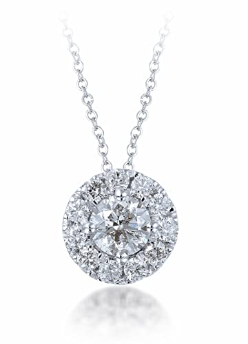 Diamond Studs Forever 14K White Gold Diamond Halo Slide Pendant (1/2 Ct tw, IGI USA Certified GH/I1)