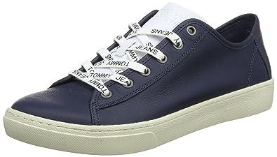 3fdc1a9f0228 Hilfiger Denim Herren Tommy Jeans Light Leather Low Men Sneaker, Blau  (Black Iris 431