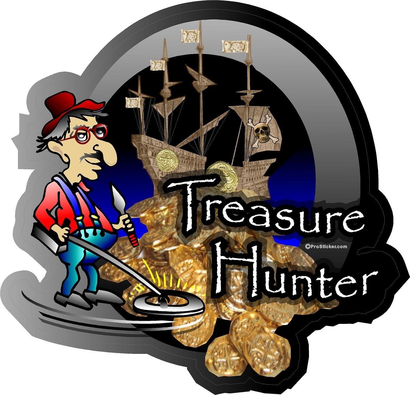 "ProSticker 507 (One) 4"" Treasure Series Treasure Hunter Metal Detecting Ship Decal Sticker"