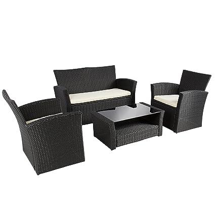 Best Choice Products 4pc Outdoor Patio Garden Furniture Wicker Rattan Sofa Set  Black - Amazon.com : Best Choice Products 4pc Outdoor Patio Garden Furniture