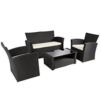 best choice products 4pc outdoor patio garden furniture wicker rattan sofa set black black garden furniture