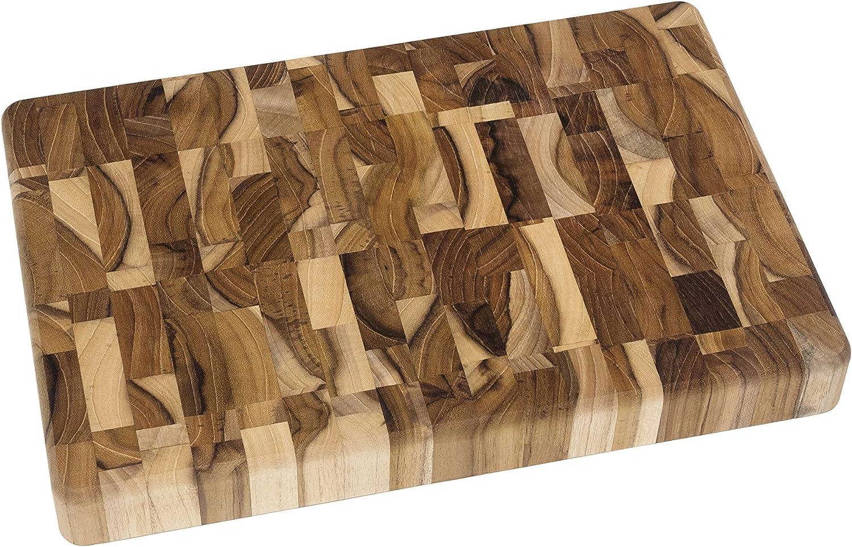 "Lipper International 7218 Teak Wood End Grain Kitchen Chopping Block and Cutting Board, Small, 12"" x 8"" x 1-1/4"""
