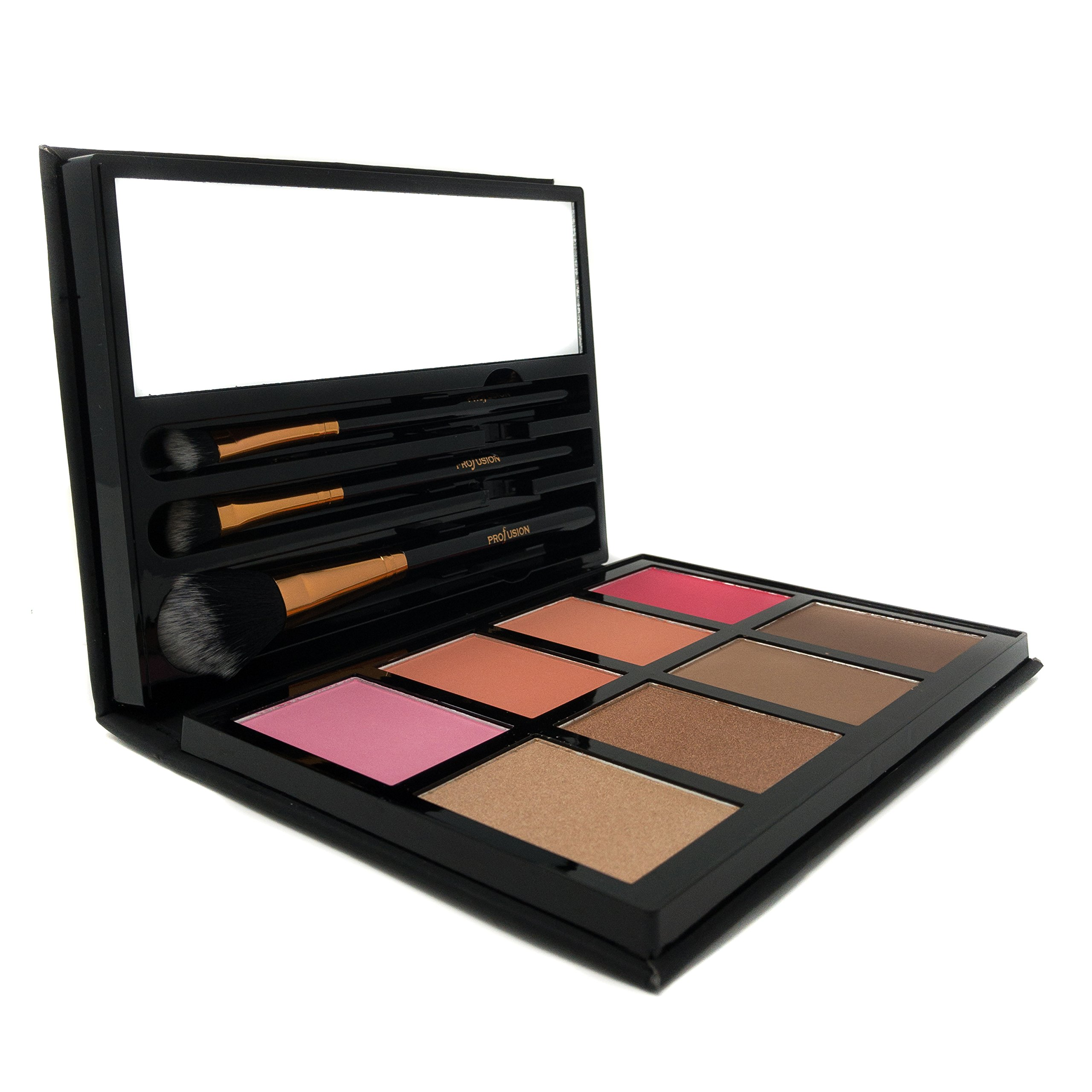 Profusion Cosmetics - Blush & Bronzer - Professional 8 Color Palette Makeup Kit Blush Highlighter Bronzer - Nude Highlight Champagne Highlight Light Bronze Shadow Bronze Pink Warm Peach Rose Pink