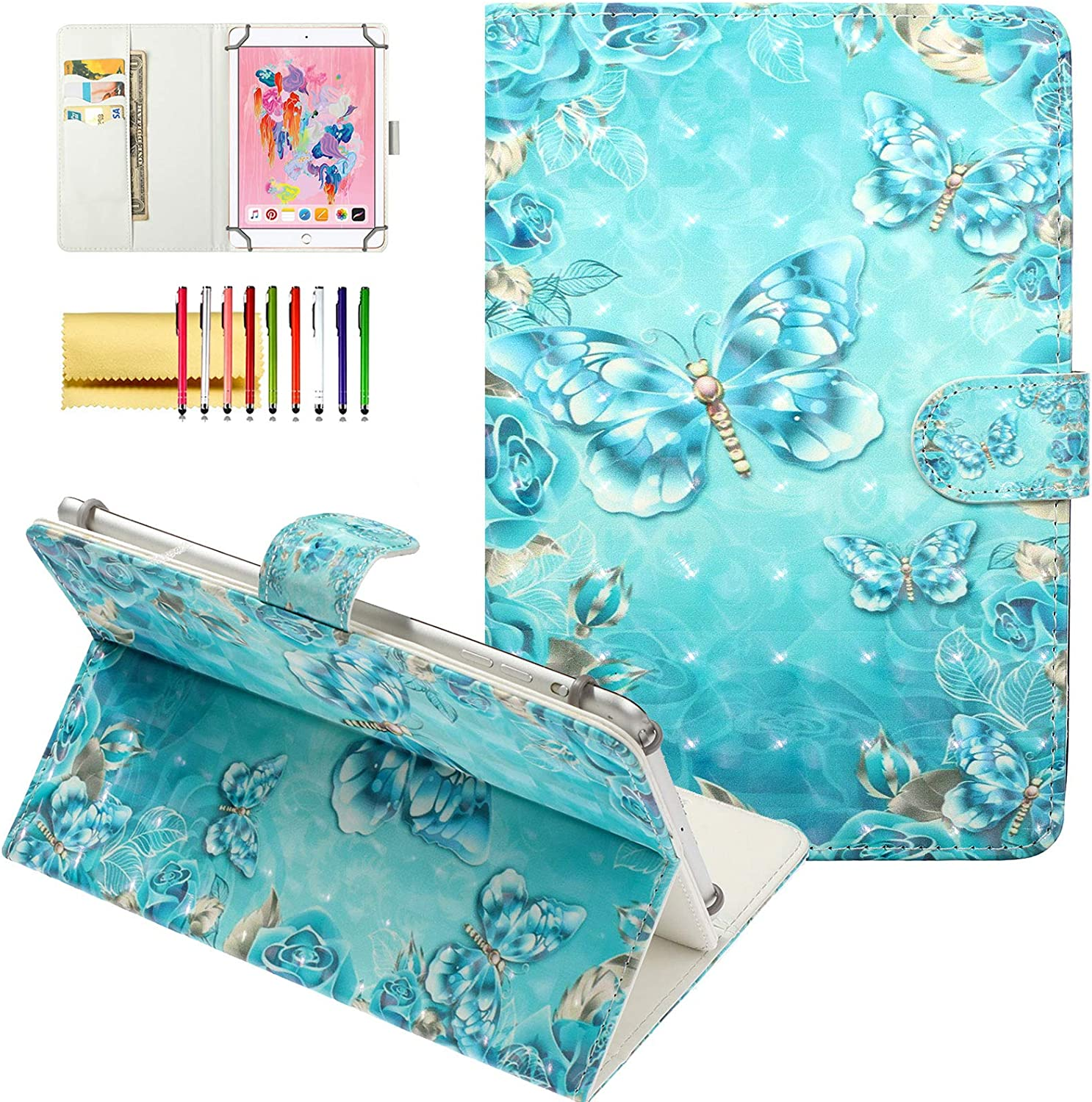 "Techcircle Universal Folio Case for 10 inch Tablet, Slim Lightweight Magnet Stand Cover [Card/Money Slots] for iPad 9.7"", Galaxy/Lenovo Tab and More 9.5""-10.5"" Touchscreen Tablet, Blue Butterflies"