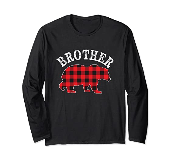 5d1e878da7 Amazon.com  Red Plaid Brother Bear Matching Family Pajama Long Sleeve T   Clothing
