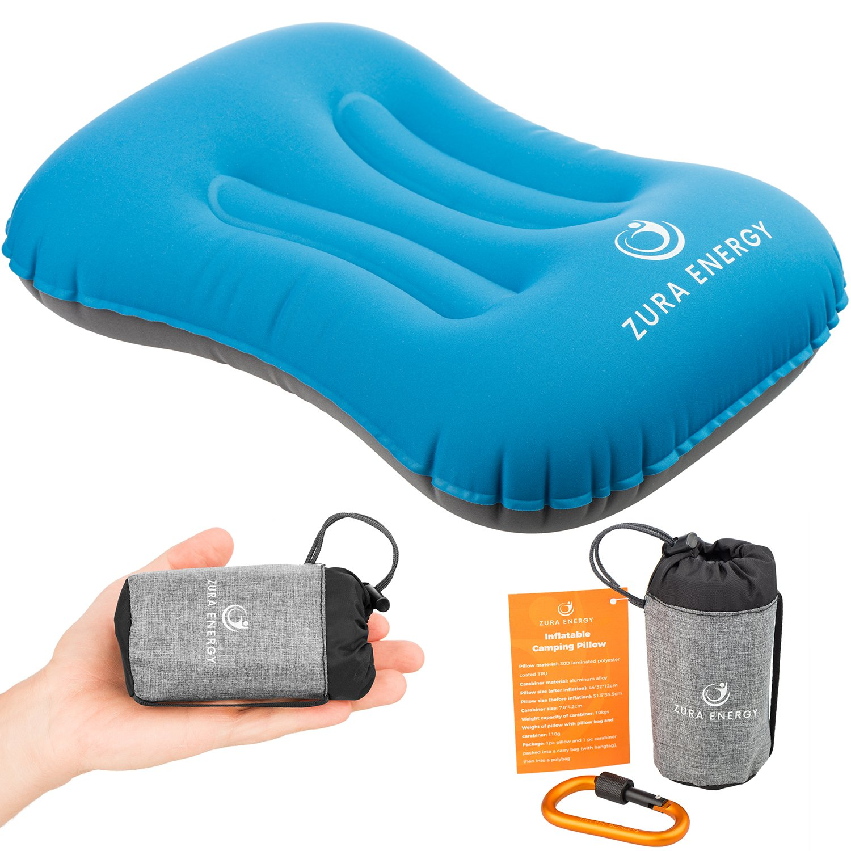 Zura Energy Inflatable Travel Camping Pillow + Locking Carabiner + eBook, Comfortable, Ultralight, Compact, Ergonomic, Beach Pillows, Hiking Gear, Neck Hammock Support, Air Camp Backpacking Pillows