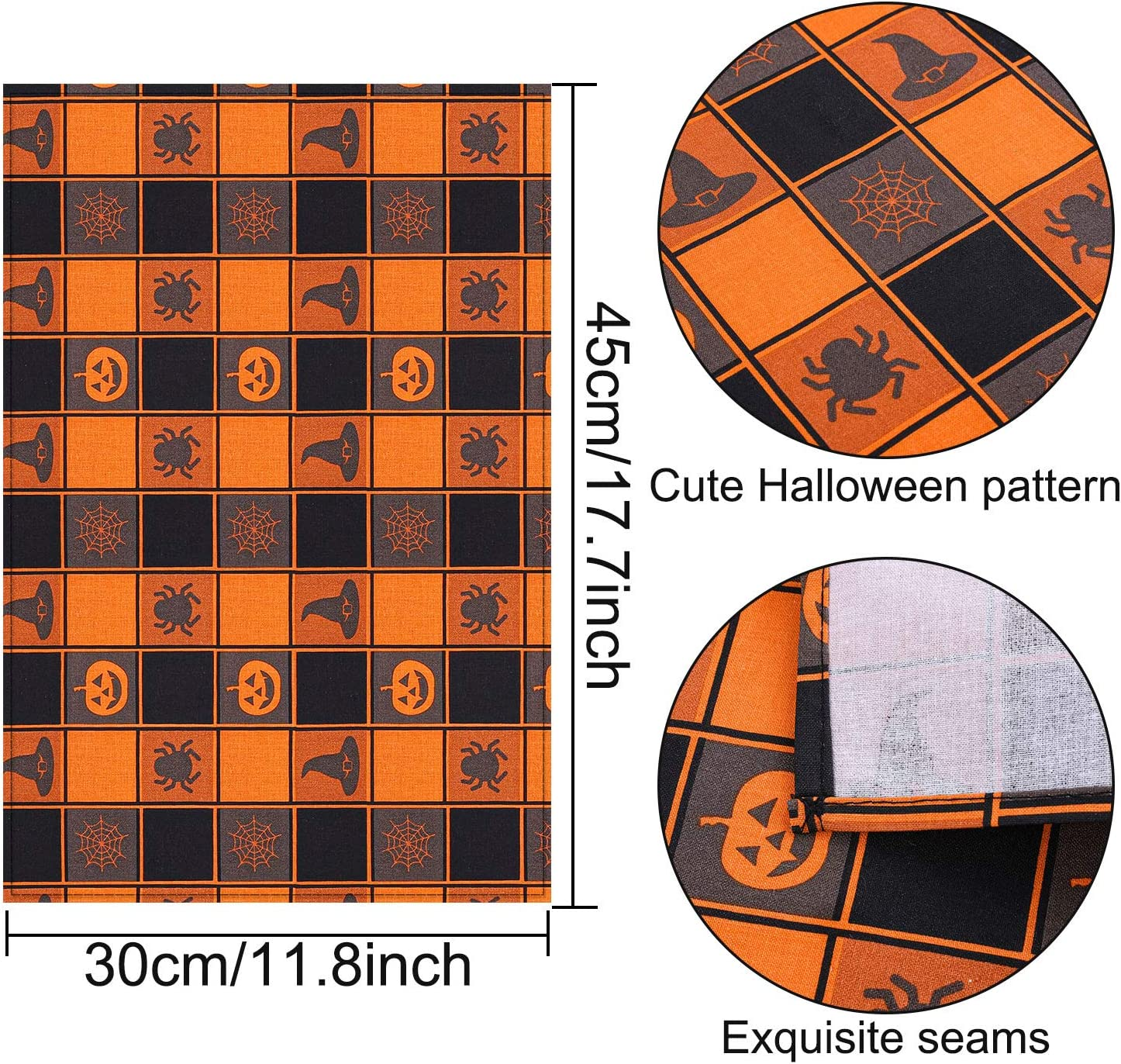 Aneco 6 Pack Halloween Buffalo Plaid Placemats 12 x 18 Inches Halloween Placemats Place Mats Cotton Black Orange Check Placemats Place Mats for Halloween Table Decoration