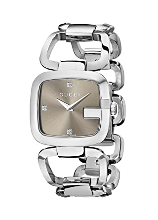0512d4bd500 Gucci Women s YA125401 G-Gucci Diamond-Accented Stainless Steel Watch   Amazon.co.uk  Watches