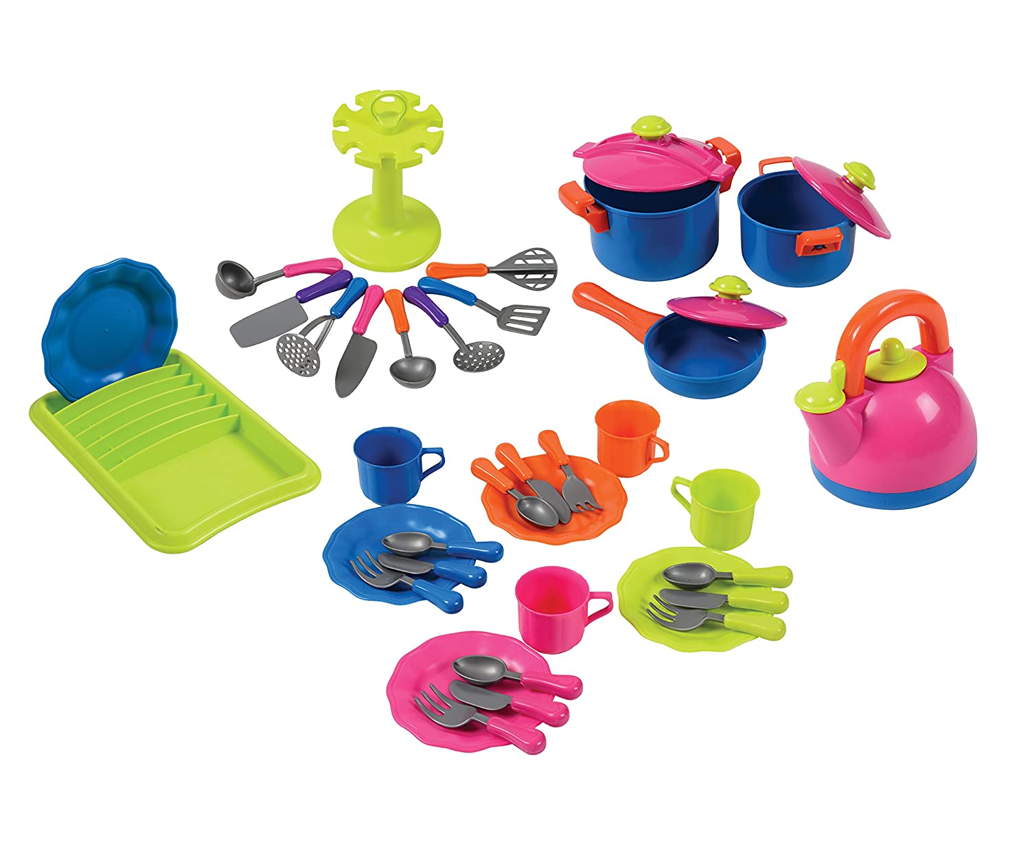 CP Toys 39 Pc. Colore-Fun Cookware for Pretend Kitchens by Constructive Playthings