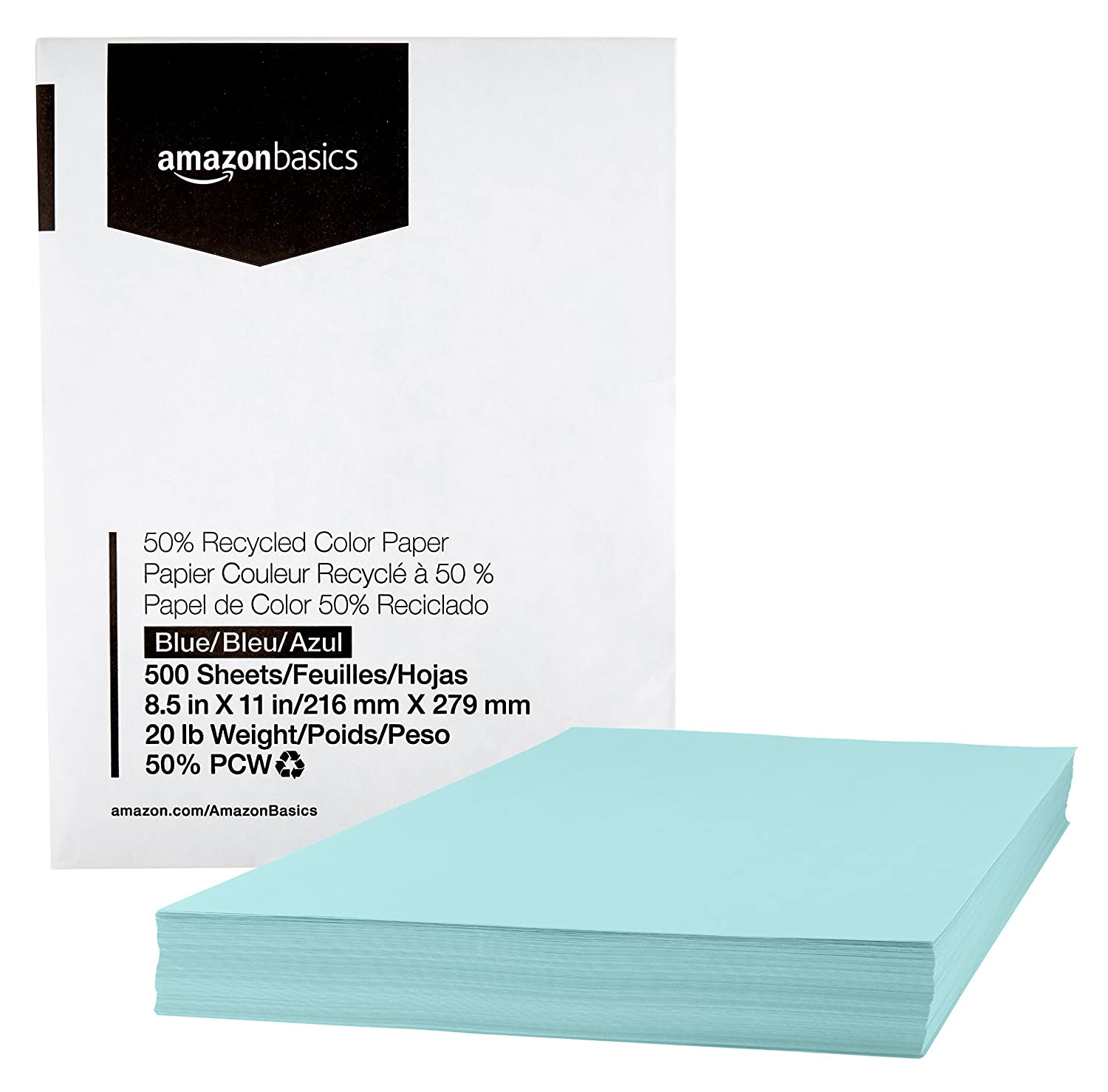 AmazonBasics 50% Recycled Color Paper - Yellow, 8.5 x 11 Inches, 20 lbs, 1 Ream (500 Sheets) AMZ8511CA1R