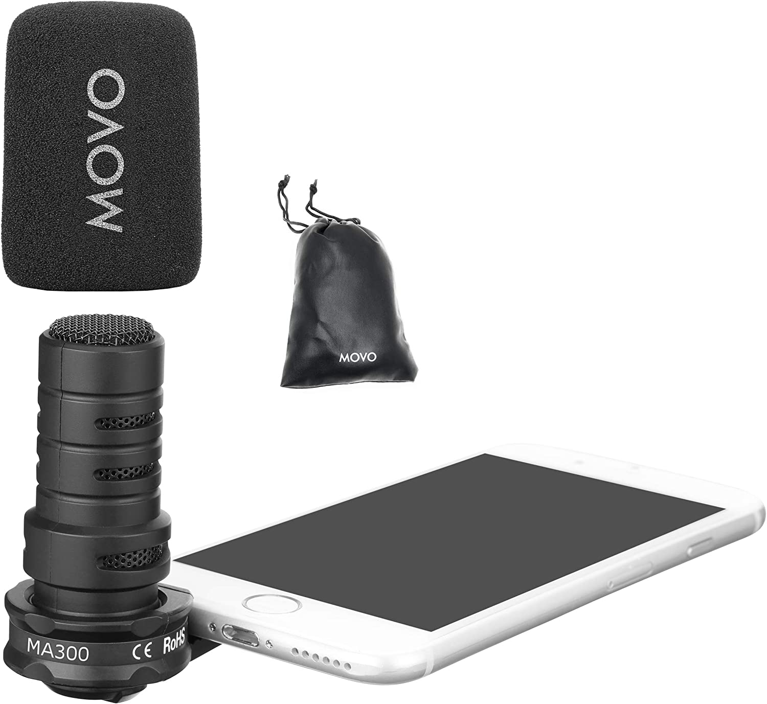Andorid Smartphones and Tablets with a 3.5mm Input Jack Movo MA300 Compact Smartphone Microphone Compatible with iPhone