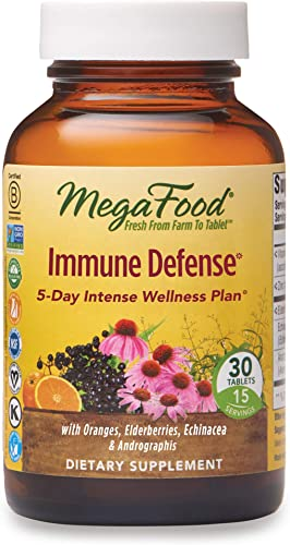 MegaFood, Immune Defense, Supports Immune and Cellular Health, 5-Day Intense Wellness Supplement Vegan, 30 Tablets 15 Servings