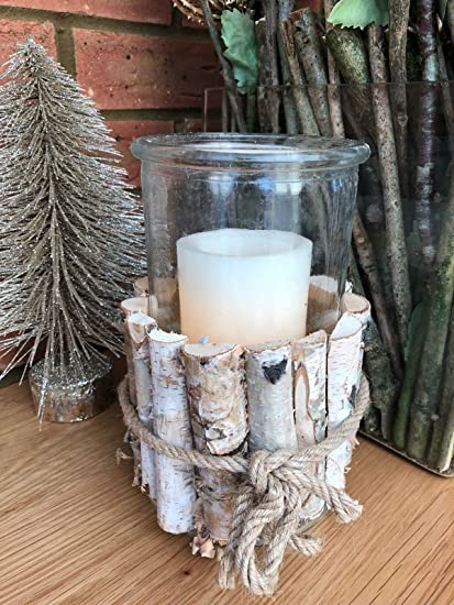 Amazon Rustic Candle Holder Large Bark Twig Base Wedding Table