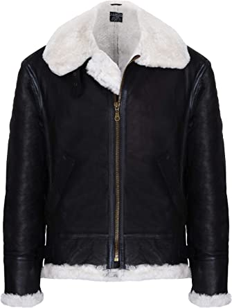 B3 Bomber WWII Cream Faux Fur Black Sheep Leather Flying Jacket Removable Hood