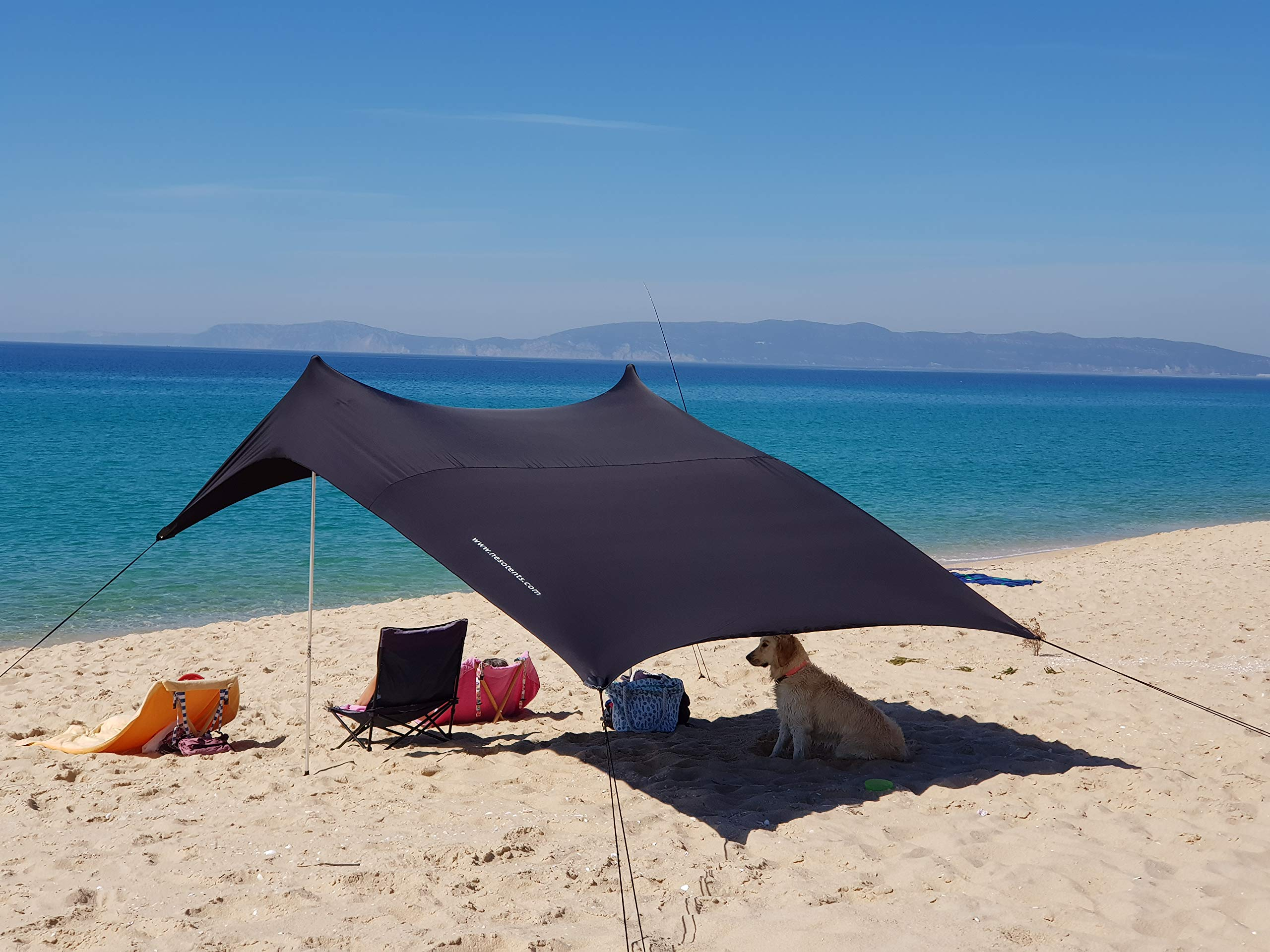 Neso Tents Beach Tent with Sand Anchor, Portable Canopy Sunshade - 7' x 7' - Patented Reinforced Corners(Black) by Neso